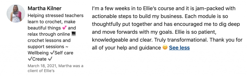 Review of Ellie Baker Coaching